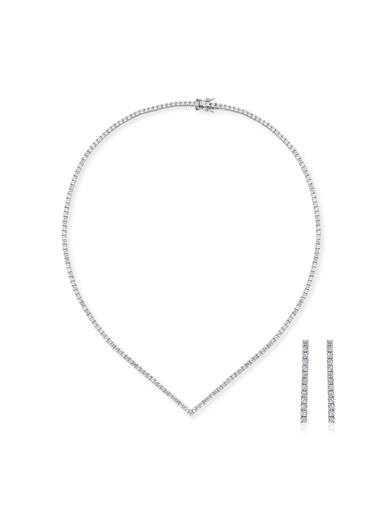 Tophills Diamond Co. 7,6Ct Pırlanta Efekt V Suyolu Altın Gerdanlık Set Renkli